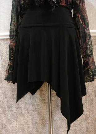 Трикотажная юбка трапеция с воланами