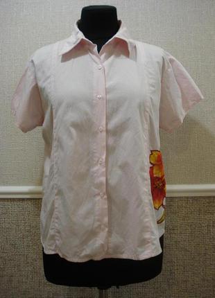 Летняя кофточка блузка с коротким рукавом и воротником
