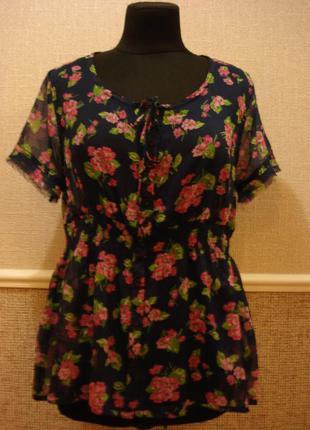 Летняя кофточка шифоновая блузка с коротким рукавом