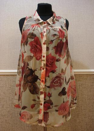 Летняя кофточка шифоновая блузка с воротником без рукавов