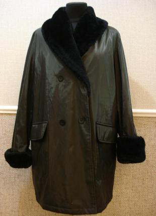 Пальто oversize пальто с меховым воротником полупальто