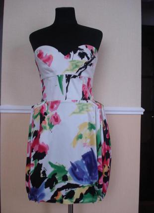 Летнее платье сарафан с корсетом и принтом
