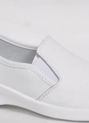 Кожаные Туфли женские медицинские белые арт. 02-11