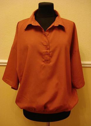 Летняя блузка рубашка с воротником и коротким рукавом