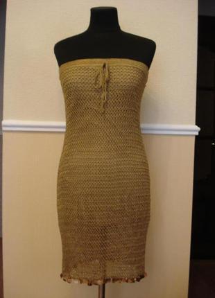 Летнее вязаное платье футляр с паетками сарафан с открытой спиной