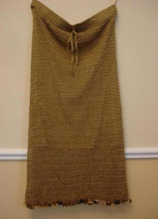 Летняя вязаная юбка карандаш
