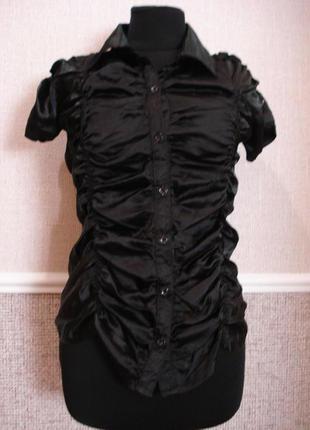 Летняя кофточка атласная блузка с воротником и коротким рукавом