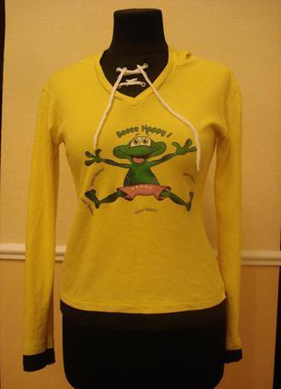 Трикотажная кофта-футболка с длинным рукавом, принтом и капюшоном