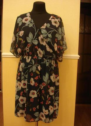 Летнее шифоновое платье туника с коротким рукавом  большого ра...
