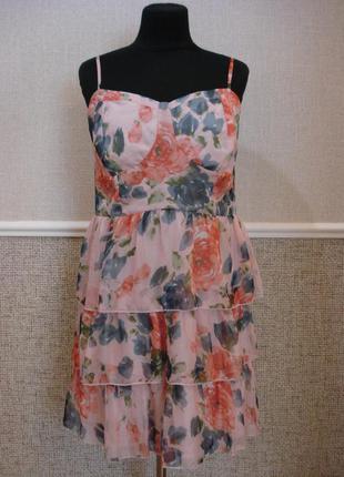 Молодежное шифоновое платье сарафан с открытыми плечами большо...
