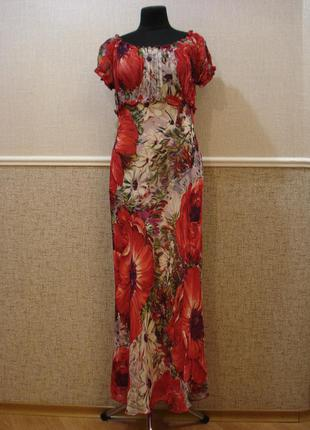 Длинное элегантное платье футляр с цветочным принтом большого ...