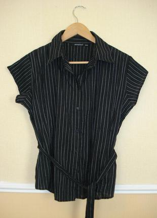Приталенная рубашка с коротким рукавом в полоску большого разм...