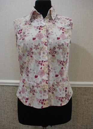 Летняя кофточка блузка с воротником блузка без рукавов