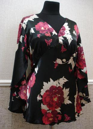 Атласная летняя кофточка нарядная блузка с длиным рукавом боль...