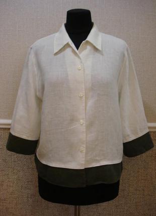 Льняная летняя кофточка блузка с воротником  большого размера ...