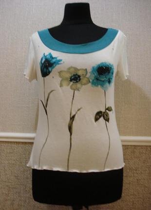 Летняя кофточка трикотажная блузка с коротким рукавом