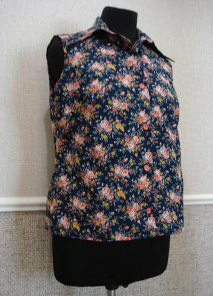 Летняя кофточка блузка без рукавов блузка с воротником