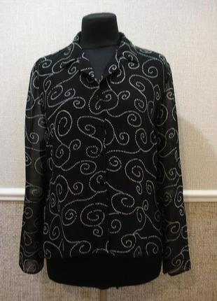 Нарядная шифоновая блузка с длинным рукавом большого размера 1...