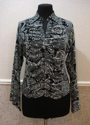 Трикотажная блузка с длинным рукавом блузка с воротником больш...