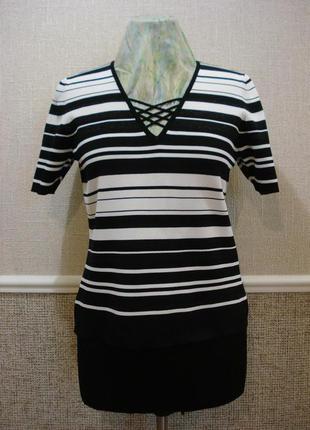 Трикотажная блузка с коротким рукавом блузка с вырезом большог...