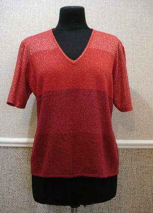 Трикотажная блузка с коротким рукавом блузка в полоску большог...