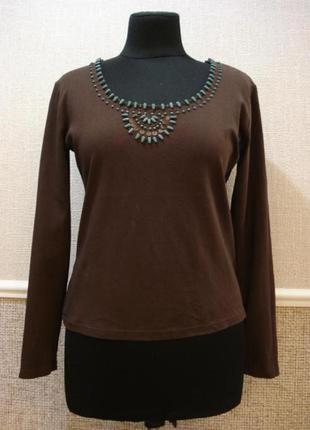 Трикотажная блузка с длинным рукавом вышиванка  большого разме...