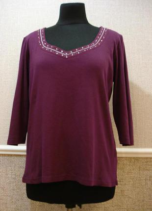Трикотажная блуза с рукавом 3/4 большого размера 18(3xl)  брен...