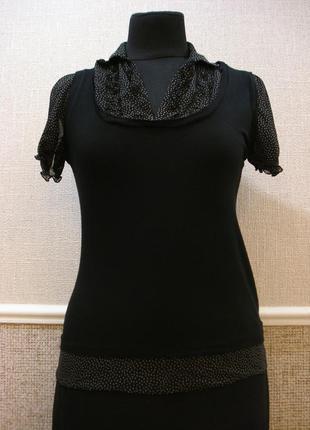 Трикотажная блузка с коротким рукавом шифоновая блуза большого...
