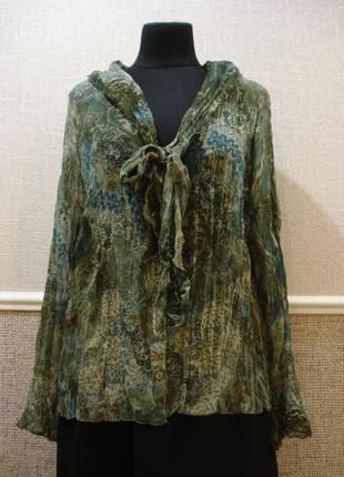 Шифоновая блузка с длинным рукавом блузка с воротником большог...