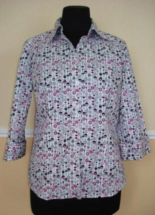 Летняя кофточка блузка с воротником и рукавом 3\4 приталенная ...