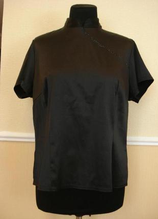 Летняя кофточка атласная блузка с воротником и коротким рукаво...