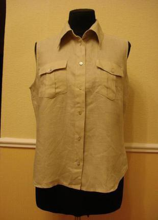 Летняя кофточка блузка с воротником без рукавов  большого разм...