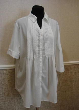 Стильная хлопковая блузка  подойдет для беременных большого ра...