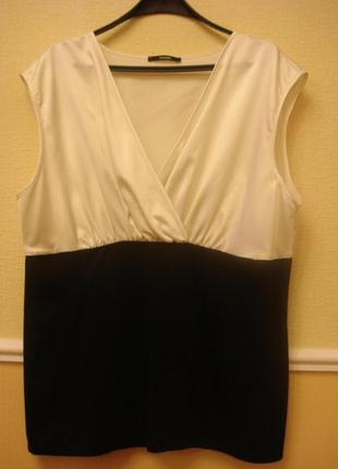 Атласно-трикотажная блузка туника без рукавов большого размера...