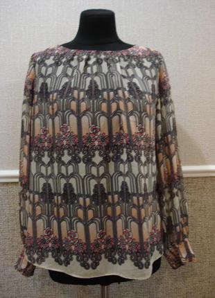 Нарядная шифоновая блуза с длинным рукавом большого размера 18...