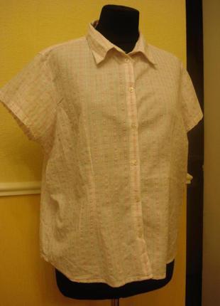 Летняя блузка-рубашка с коротким рукавом в клетку большого раз...
