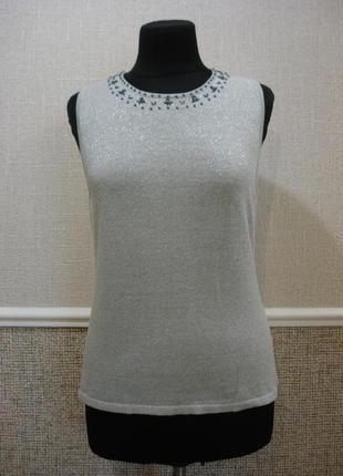 Нарядная блузка  без рукавов блузка с вышивкой бренд mackays  ...