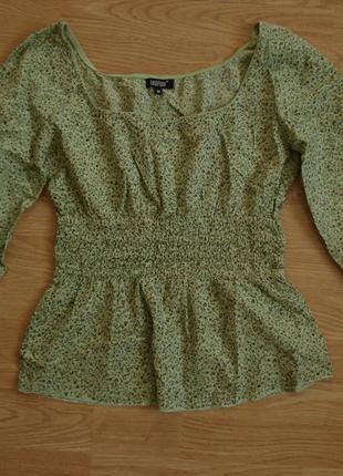 Летняя кофточка блузка с длинным рукавом и принтом