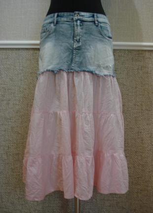 Летняя юбка с воланами джинсовая юбка  бренд 5hl