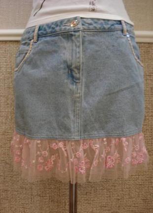 Летняя джинсовая юбка с воланами