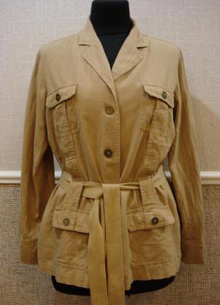 Льняной  приталенный пиджак одежда в стиле кэжуал большого раз...