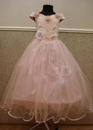 Нарядное праздничное платье для девочки паутинка