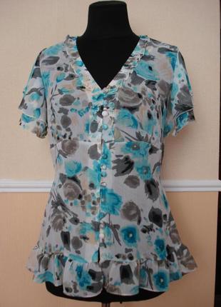 Летняя кофточка шифоновая приталенная блузка с коротким рукавом