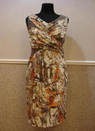 Дизайнерское летнее облегающее платье с принтом  размер 14(xl)