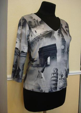 Летняя кофточка трикотажная блузка с рукавом 3/4 большого разм...