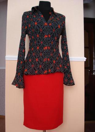 Летняя кофточка шифоновая блузка с воротником и длинным рукавом