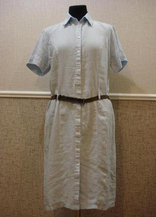 Льняное летнее платье-рубашка платье сафари большого размера 1...
