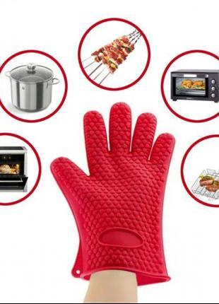 Жаропрочные перчатки-прихватки из силикона Antiscald Gloves Кр...