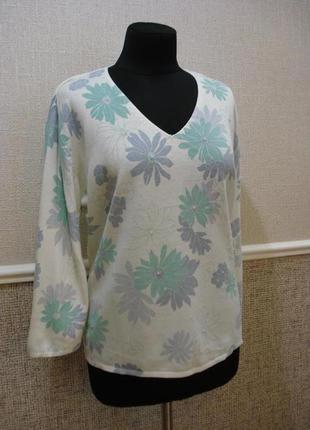 Нежный джемпер с цветочным принтом   пуловер большого размера ...