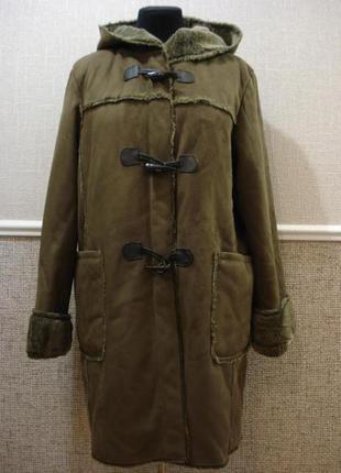 Дубленка зимнее пальто с мехом дафлкот большого размера 16(xxl)